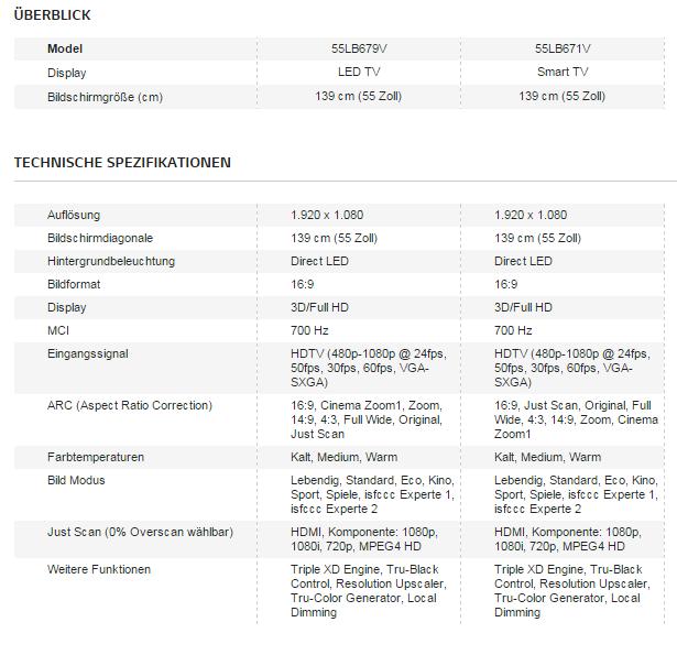 TV Vergleich: 55LB679V vs. 55LB671V